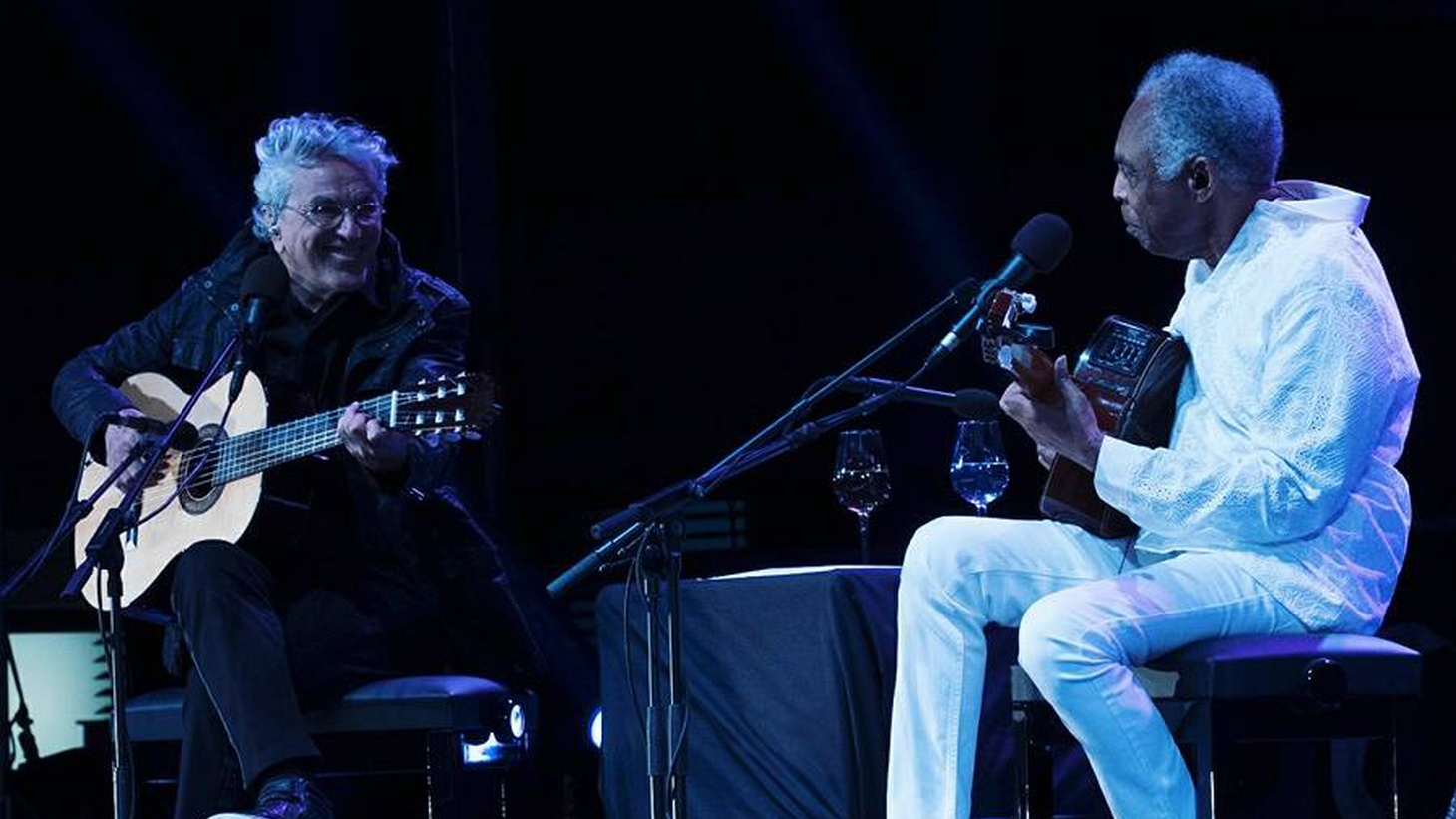 The timeless beauty of two old friends -- who have collaborated since the mid 60's -- is palpable when Caetano Veloso and Gilberto Gil take their guitars to the stage.