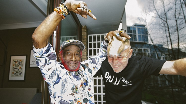 """Lee """"Scratch"""" Perry and UK's On-U Sound record label proprietor Adrian Sherwood show-off their bulletproof dub depth on """"Rattling Bones and Crowns."""" Get ready to rumble!"""