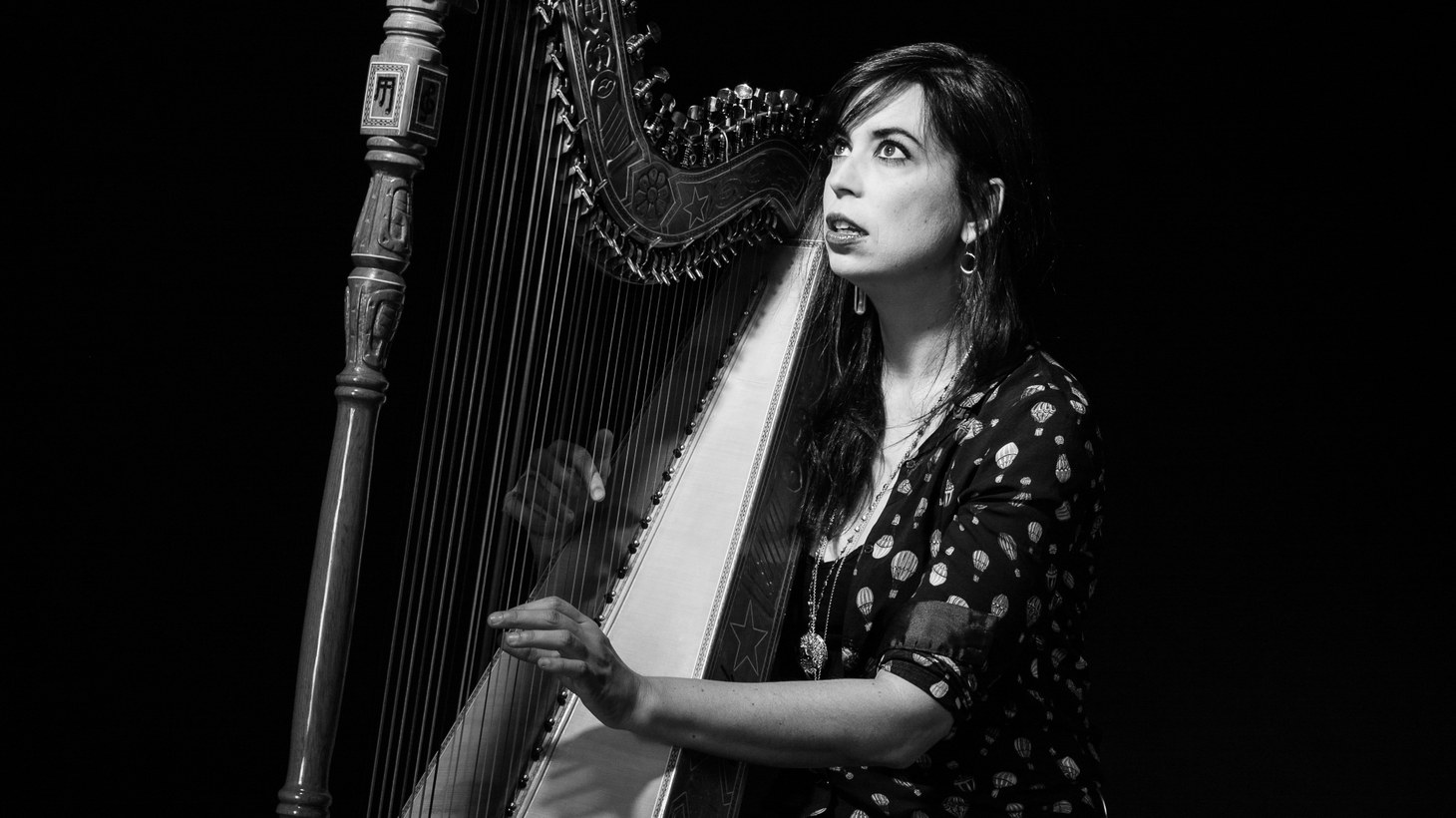 "Experimental harpist Sarah Pagé sets out to create the feeling of stillness within motion, like looking out of a moving train window. Pagé's hands reflect her subconscious on the composition ""Ephemeris Data."""