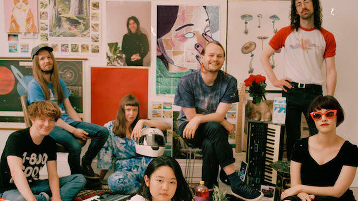 """Superorganism describes itself as """"a sprawling, multi-limbed collection of international musicians and pop culture junkies. Recruited from London, Japan, Australia and New Zealand, seven of the eight now live together in a house/DIY studio/band HQ in Homerton, East London."""