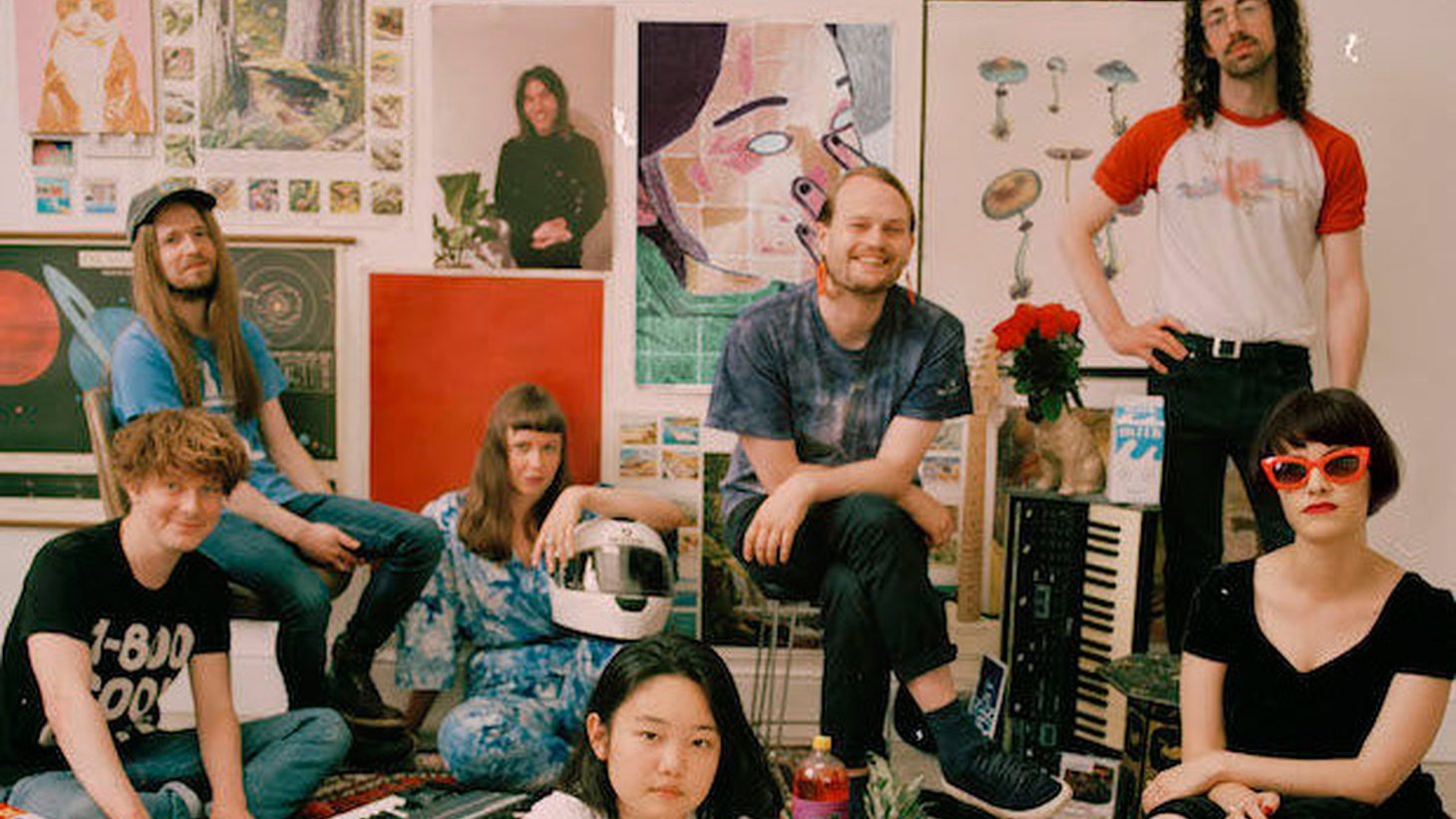 "Superorganism describes itself as ""a sprawling, multi-limbed collection of international musicians and pop culture junkies. Recruited from London, Japan, Australia and New Zealand, seven of the eight now live together in a house/DIY studio/band HQ in Homerton, East London."