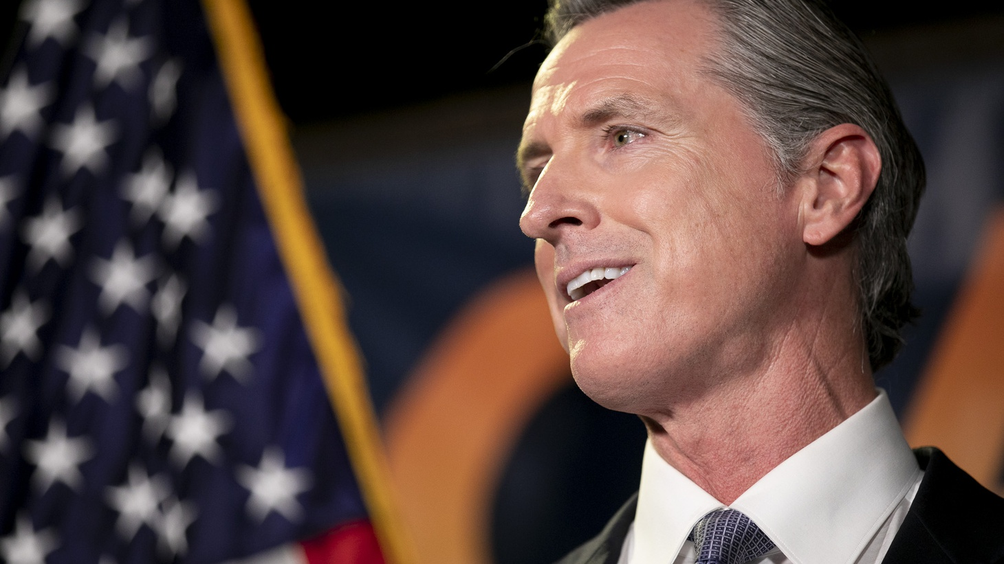 Gov. Gavin Newsom gives a speech following his projected victory in the recall election at the California Democratic Party headquarters in Sacramento on Sept. 14, 2021.