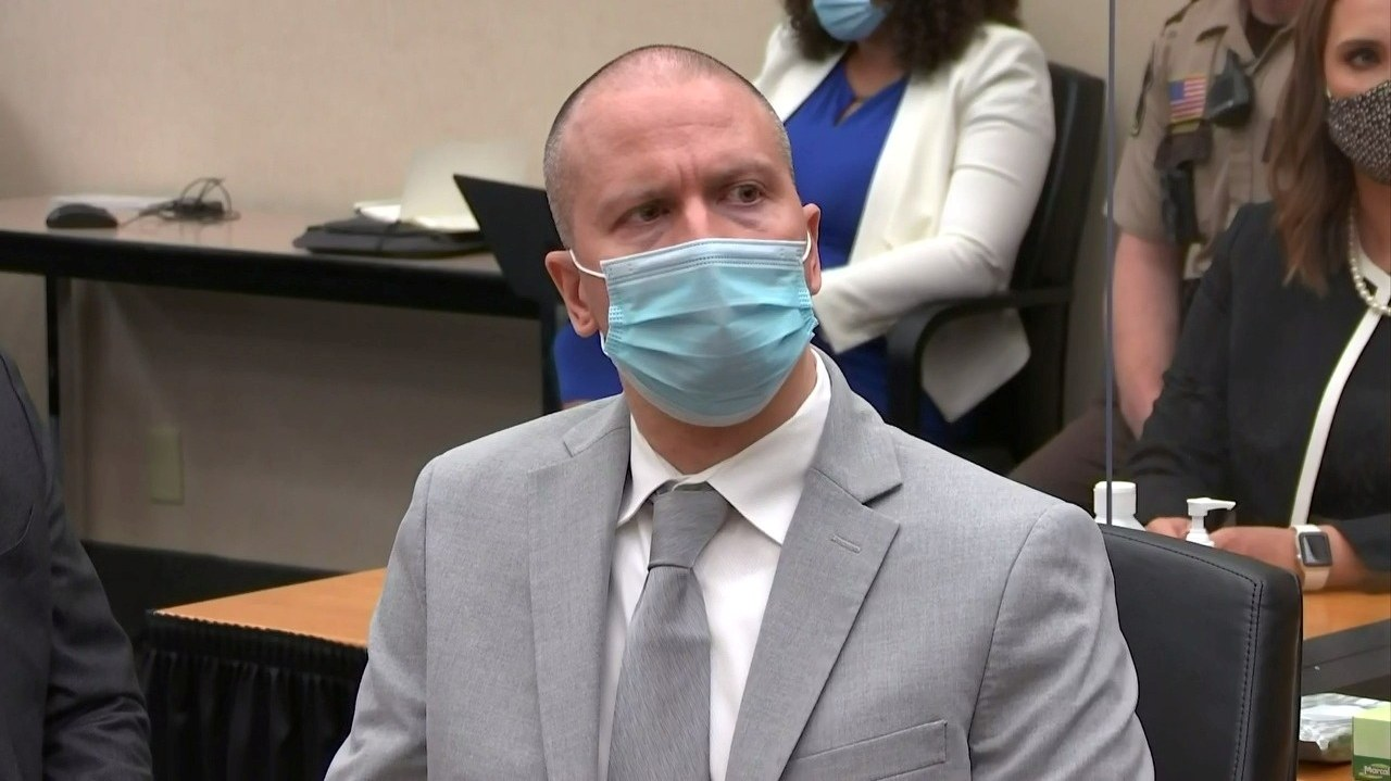 Former Minneapolis police officer Derek Chauvin listens to the judge announce his sentence of twenty two and a half years in prison for the murder of George Floyd during Chauvin's sentencing hearing in Minneapolis, Minnesota, U.S. June 25, 2021 in a still image from video.
