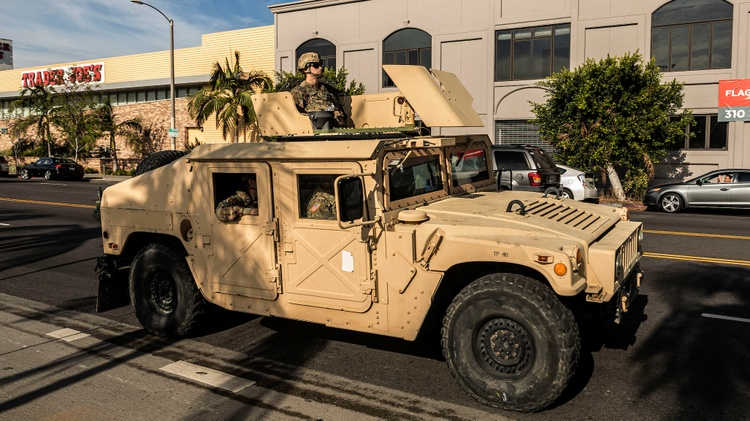 National Guard troops patrol LA as Governor Newsom declares state of emergency