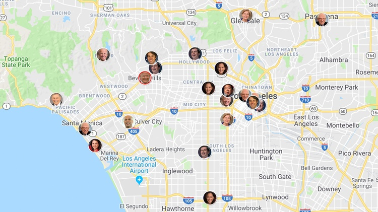 The 2020 presidential race has a crowded field of competitors, and many are making their way to Los Angeles for fundraisers, rallies, and other events. KCRW is tracking LA visits by…