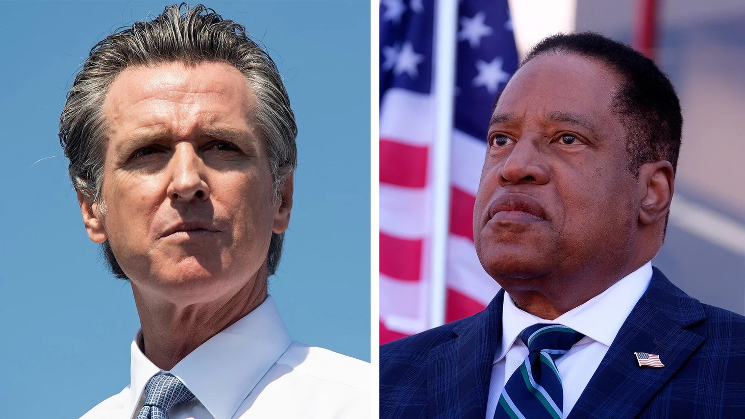 Left: California Governor Gavin Newsom speaks during a campaign rally against his recall election at the IBEW-NECA Joint Apprenticeship Training Center in San Leandro, California, September 8. Right: Republican gubernatorial candidate Larry Elder speaks to supporters during an Asian Rally for Yes Recall at the Asian Garden Mall in Little Saigon, Westminster, California, on September 4.
