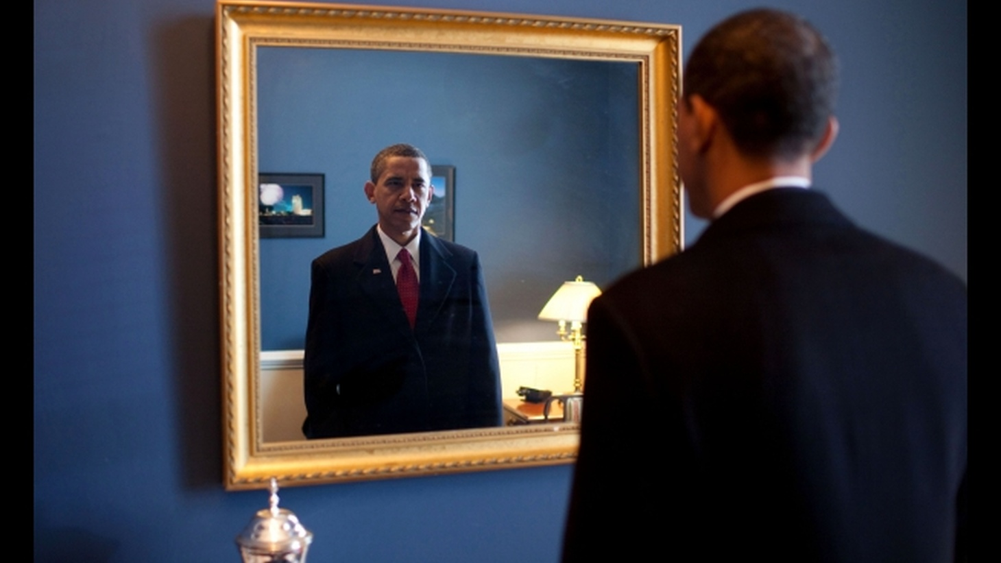 """Jan. 20, 2009 """"President-elect Barack Obama was about to walk out to take the oath of office. Backstage at the U.S. Capitol, he took one last look at his appearance in the mirror."""""""
