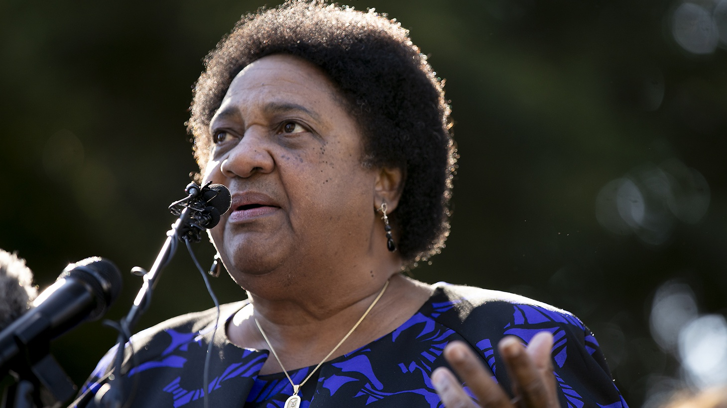 Secretary of State Shirley Weber speaks during a press conference in 2020 in Sacramento.