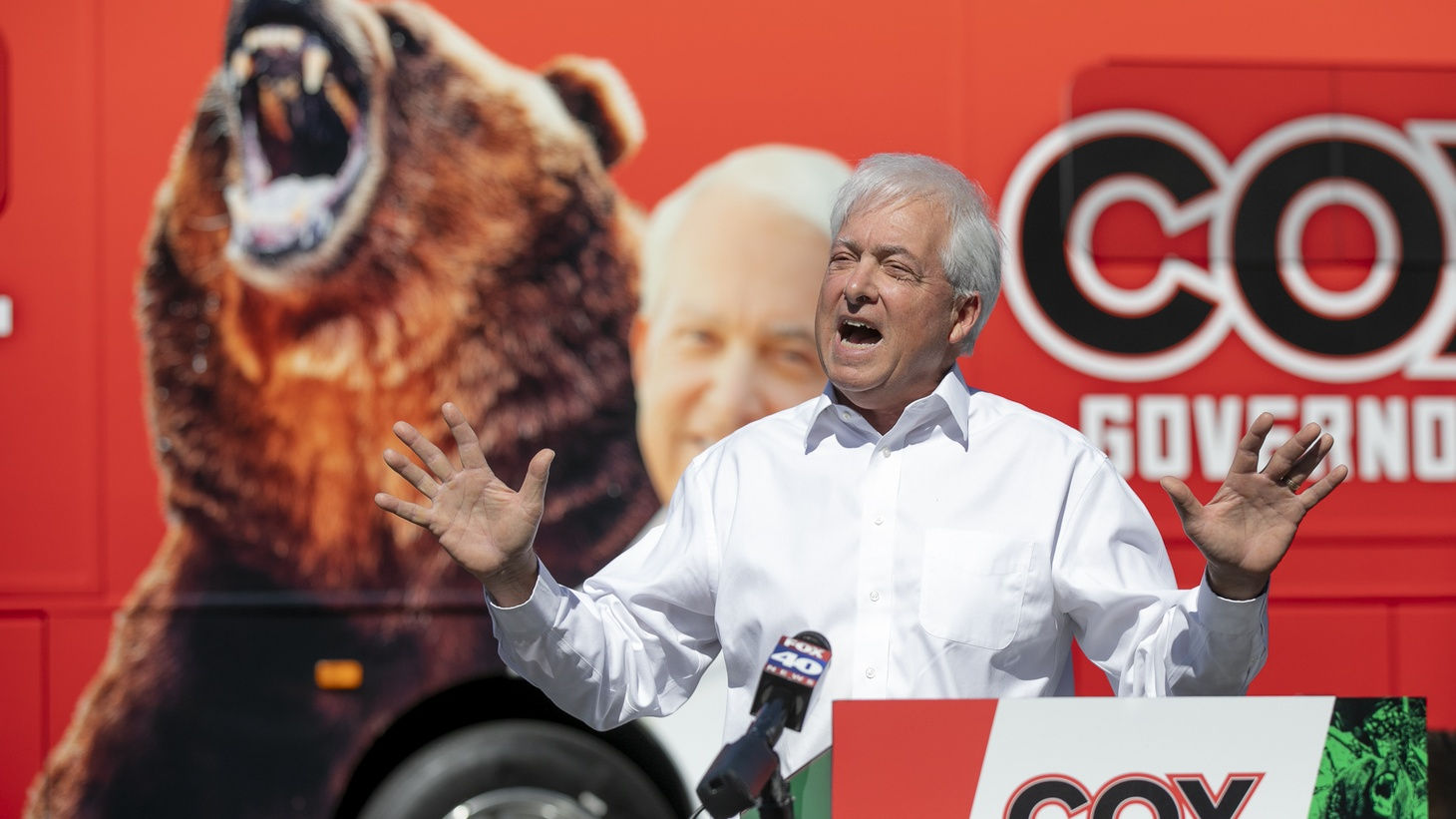 Recall candidate John Cox speaks during a campaign event at Miller Regional Park in Sacramento on May 4, 2021.