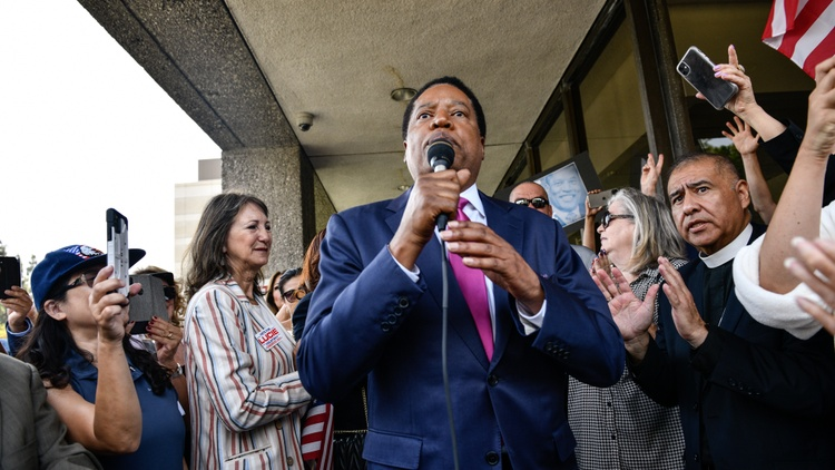 In an hour-long interview, Newsom recall candidate Larry Elder discussed his libertarian policies and why he won't debate other Republicans.