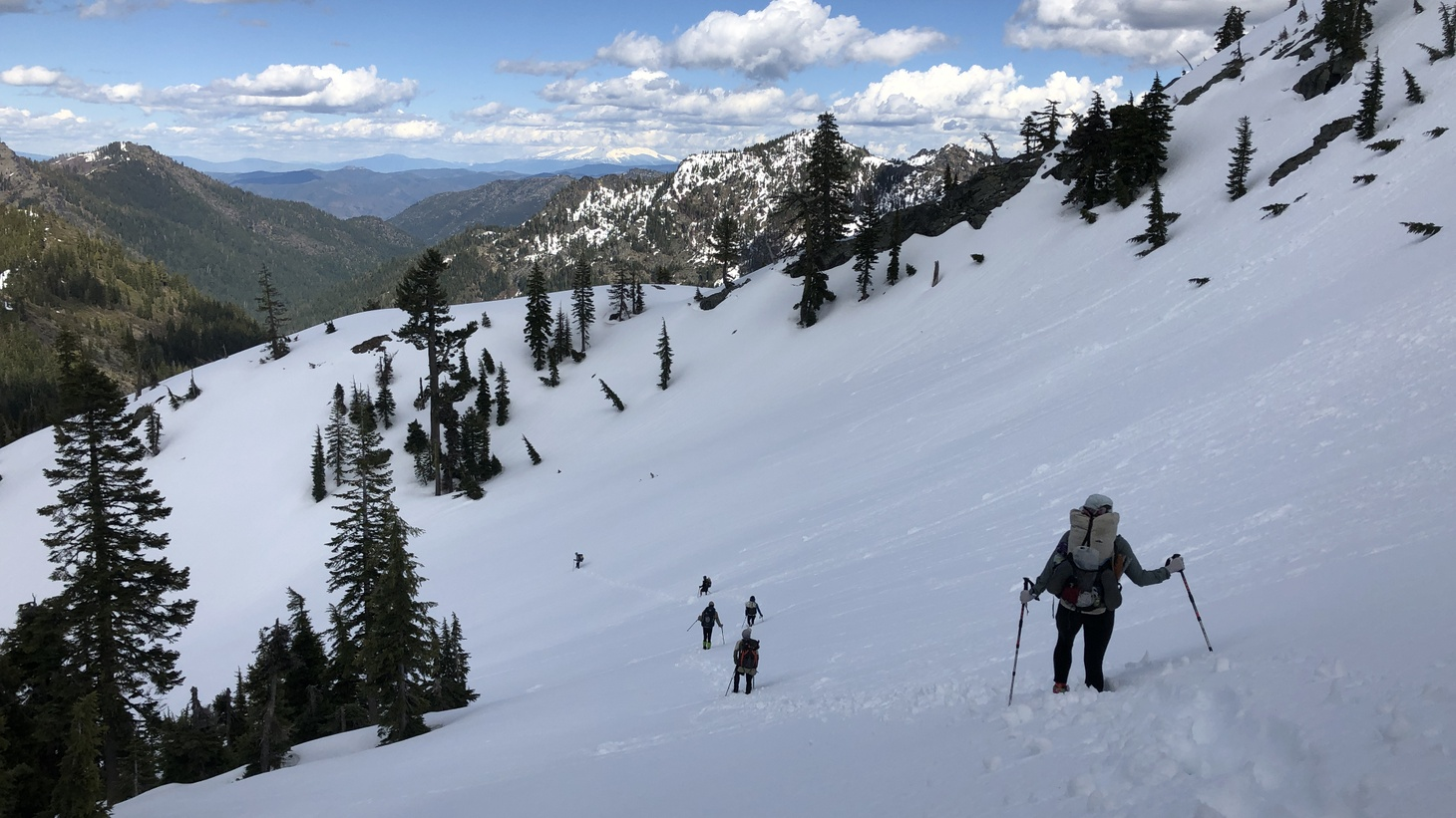 Hikers brave a snowy stretch of the Pacific Crest Trail.