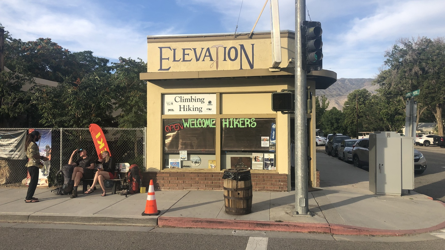 PCT hikers wait for a ride to the trail outside Elevation Sierra Adventure, an outdoor outfitter in Lone Pine, CA.