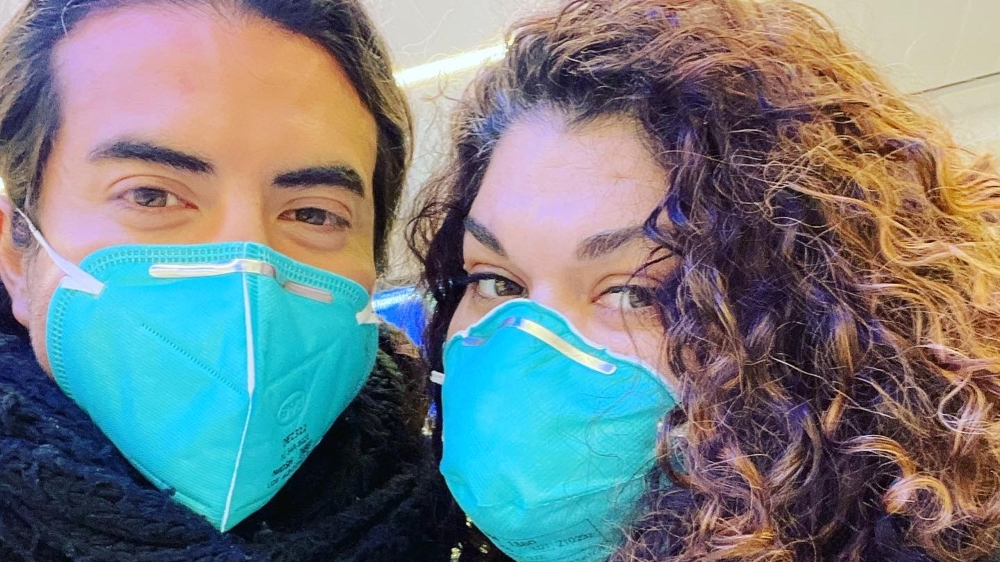 Edwin Rivera (left) and his friend at LAX, about to board their flight to Washington D.C.