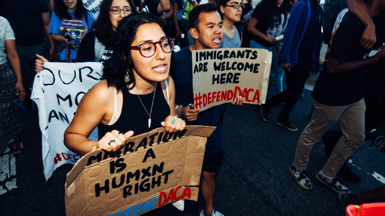 Activists in Los Angeles rallying to defend DACA.