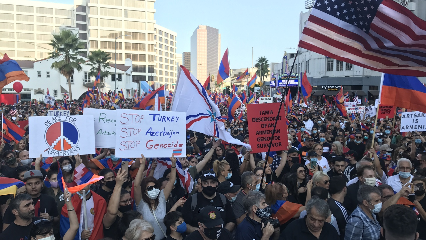 Tens of thousands of pro-Armenia demonstrators crowding Wilshire Boulevard in Beverly Hills near the Turkish consulate on October 11, 2020.