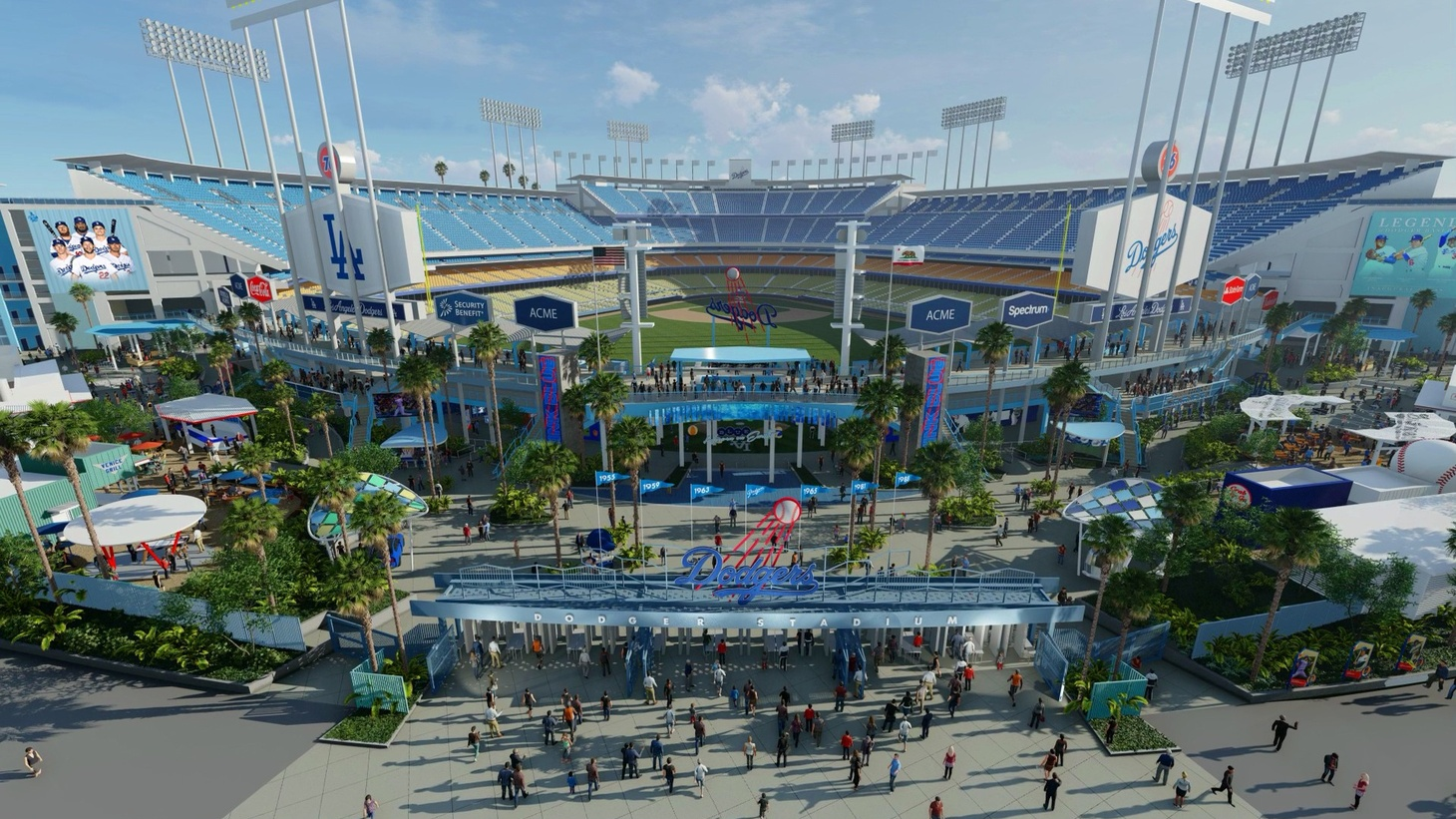 A rendering of the new Dodger Stadium.