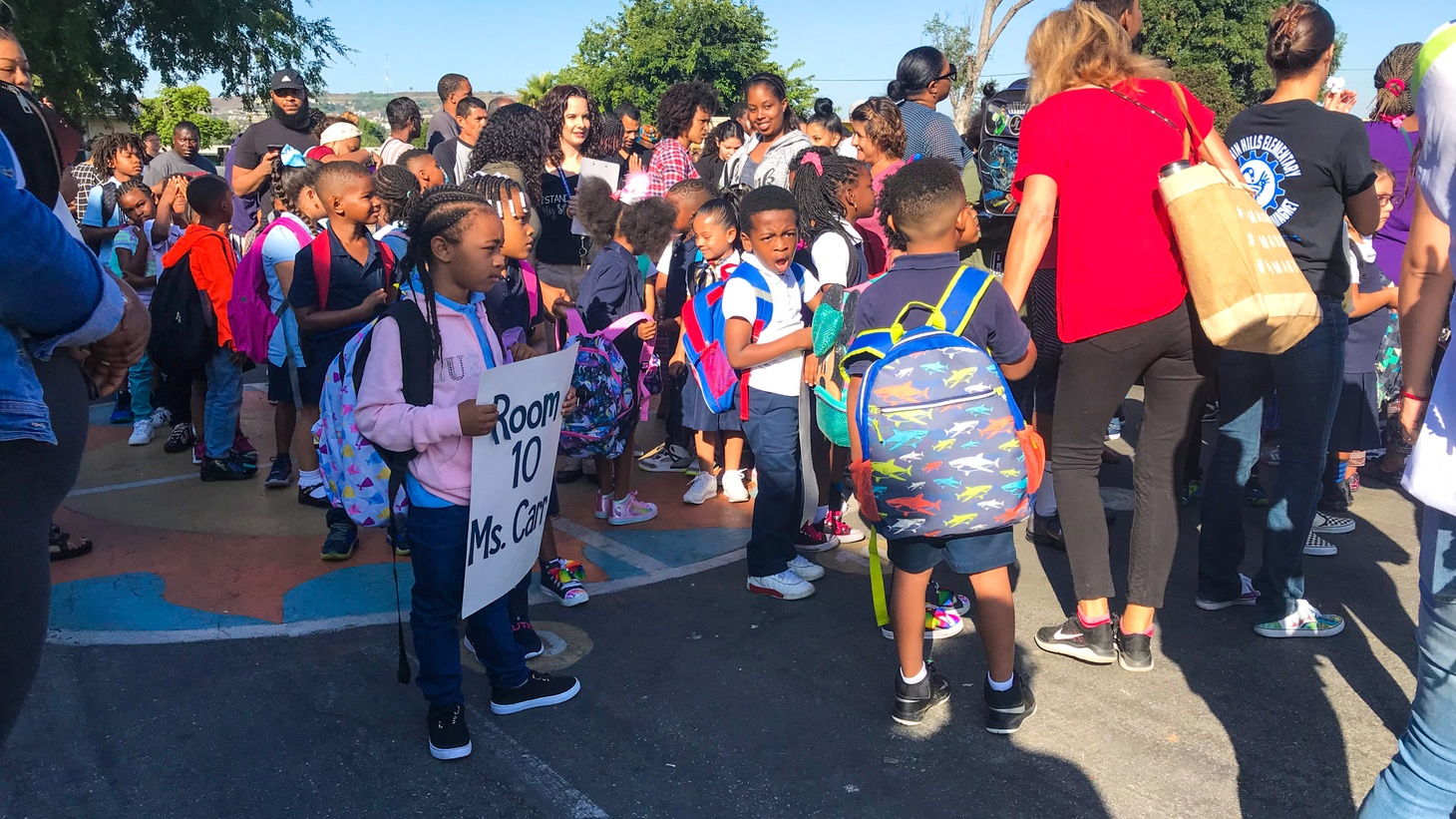 Students line up for their classrooms at Baldwin Hills Elementary.