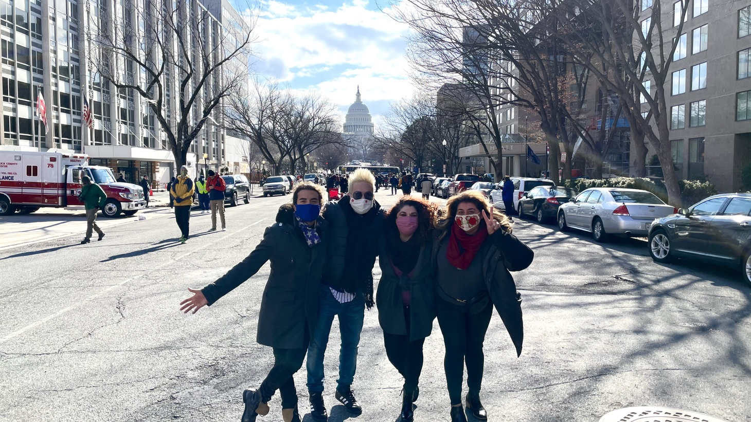 Edwin Rivera and his friends in Washington D.C. for the presidential inauguration.