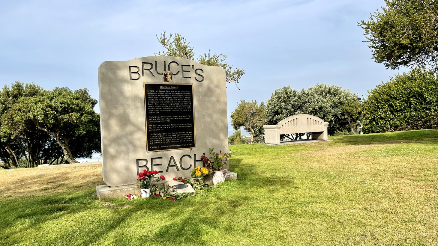 Charles and Willa Bruce bought a beachfront plot of land for about $1,000 in 1912. But in 1924, Manhattan Beach condemned and seized the land. Now Gov. Newsom has signed a law that transfers ownership of the parcel to Willa and Charles Bruce's four remaining direct descendants.