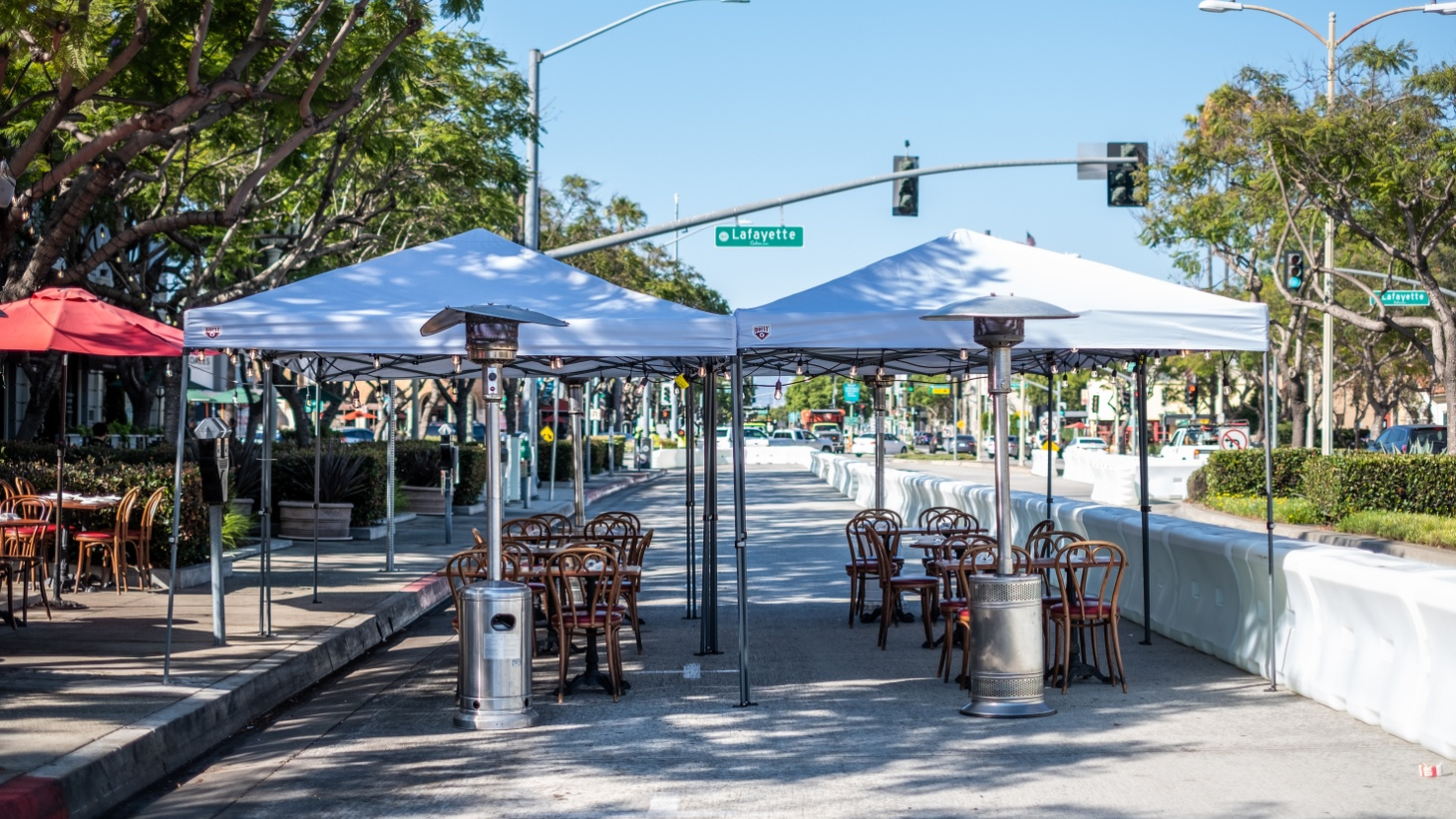 Many restaurants in downtown Culver City have set up dining tables on sidewalks and roads.