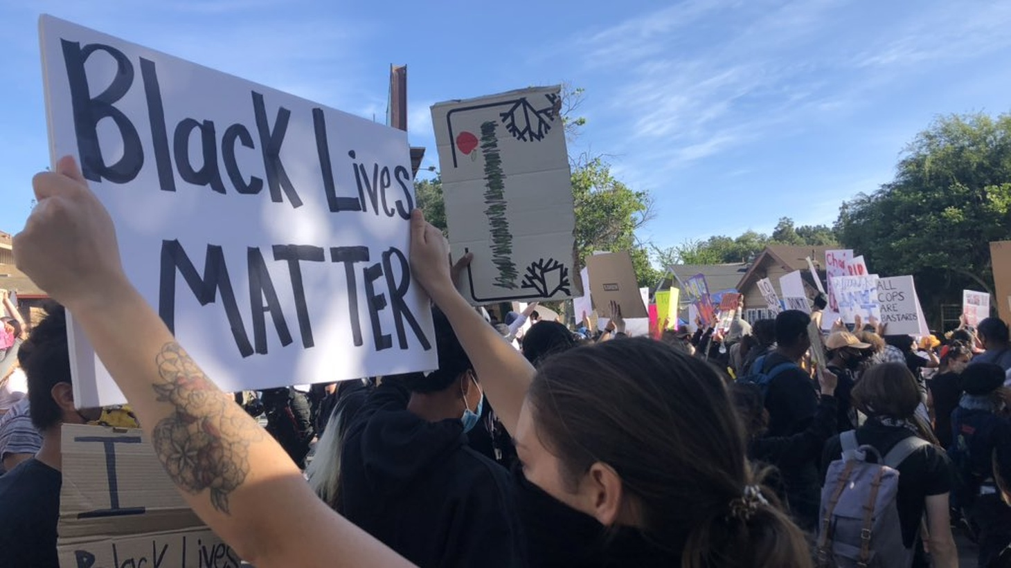 Protesters in Santa Ana on Sunday.