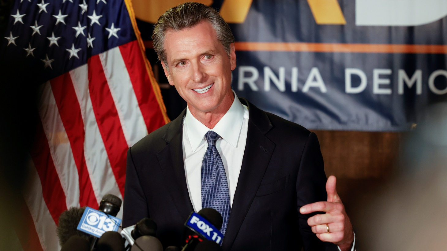 California Governor Gavin Newsom speaks after the polls close on the recall election, at the California Democratic Party headquarters in Sacramento, California, U.S., September 14, 2021.