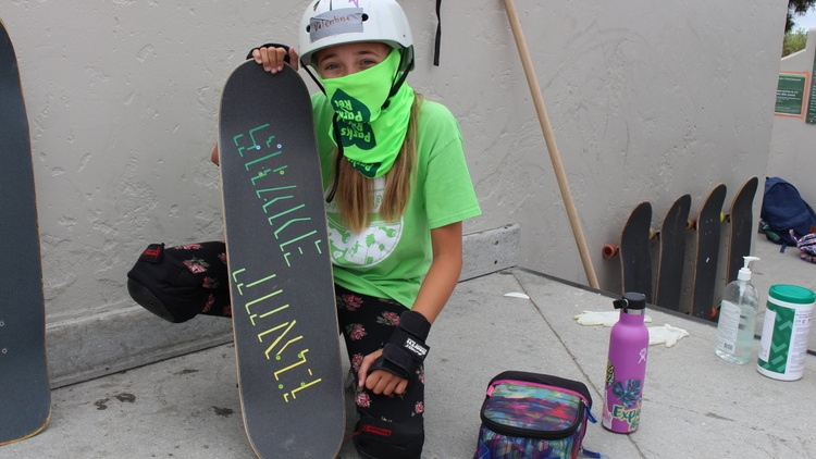 At a skatepark in downtown Santa Barbara, adjacent to the ocean, a dozen masked crusaders wheel down a cement slope.   
