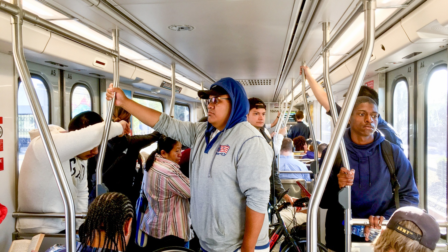 A crowded westbound Expo Line train on October 22, 2019.
