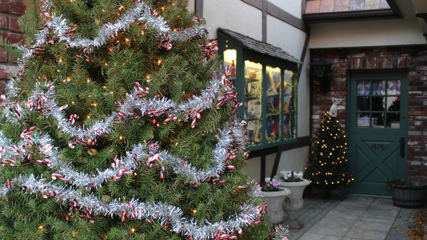 Christmas trees line the streets of downtown Solvang.