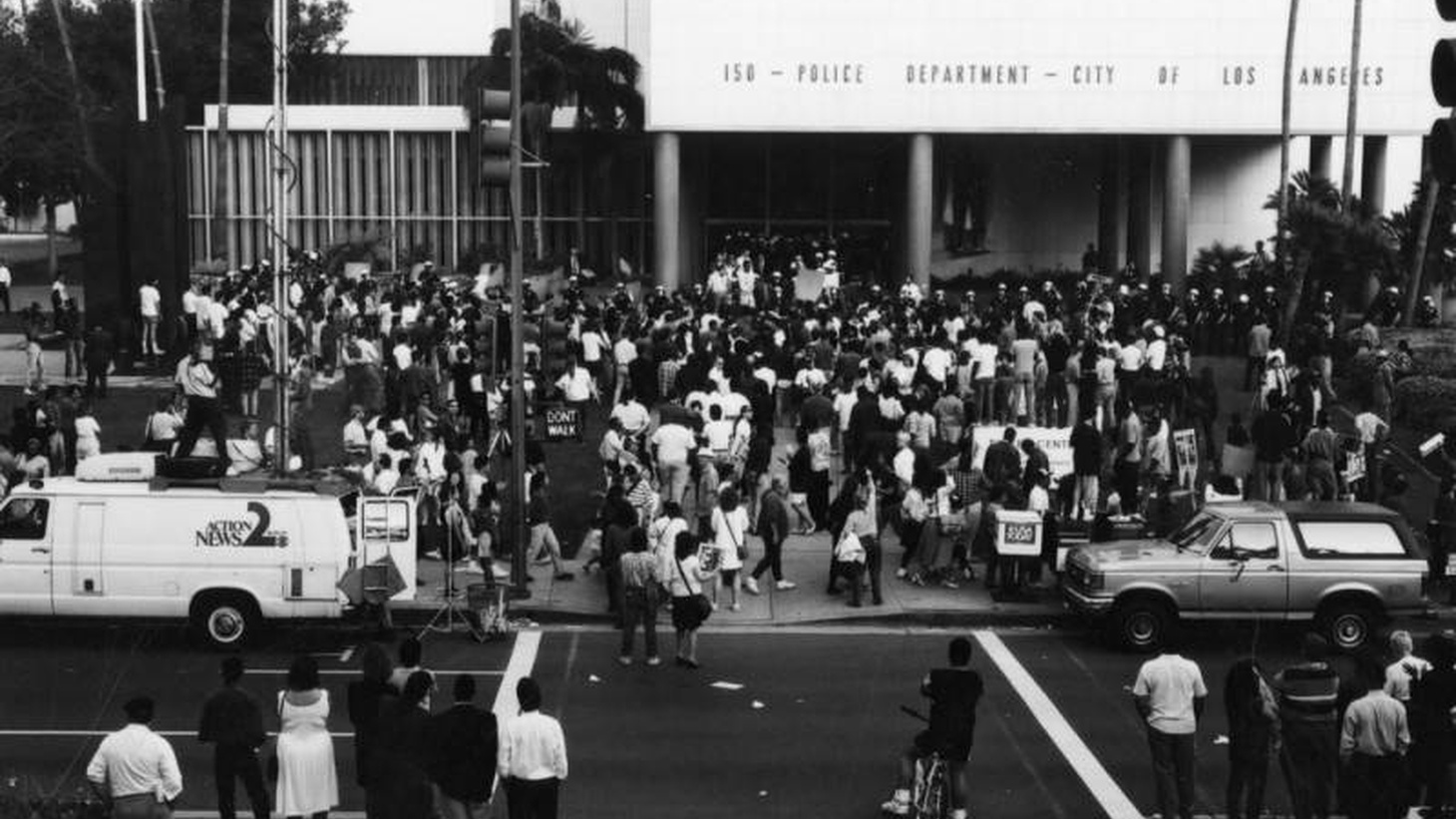 People gathered outside the Los Angeles Police Department during civil unrest on April 29, 1992, following the jury's decision in the Rodney King beating case.
