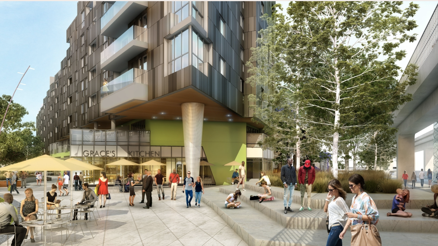 A rendering of Ivy Station, a mix of offices, hotel, bars and 200 market-rate apartments. It's right by the Culver City Expo Line station. It's an example of transit-oriented development — aimed at providing more housing and stopping sprawl and car dependency.