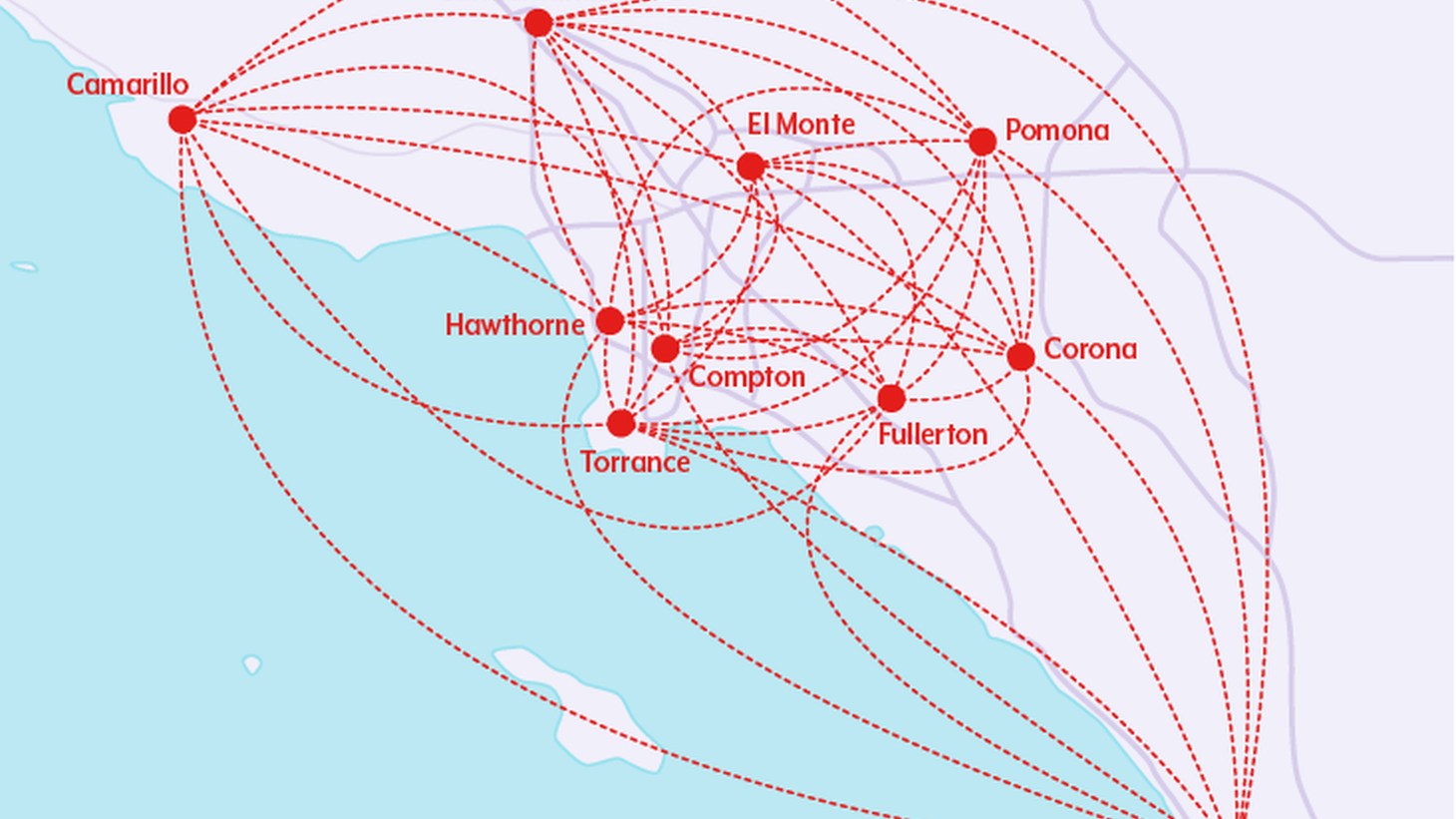 Proposed routes connecting regional airports around Southern California.
