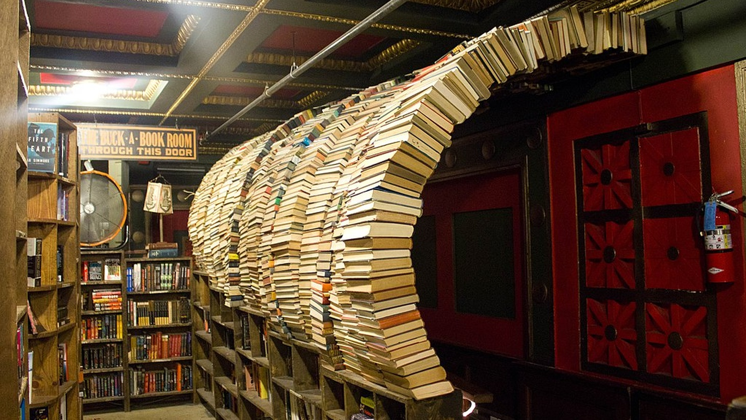 After losing money and shutting down during the pandemic, The Last Bookstore in downtown LA is now back open for in-person shopping at limited capacity. Everyone inside the store must wear masks.