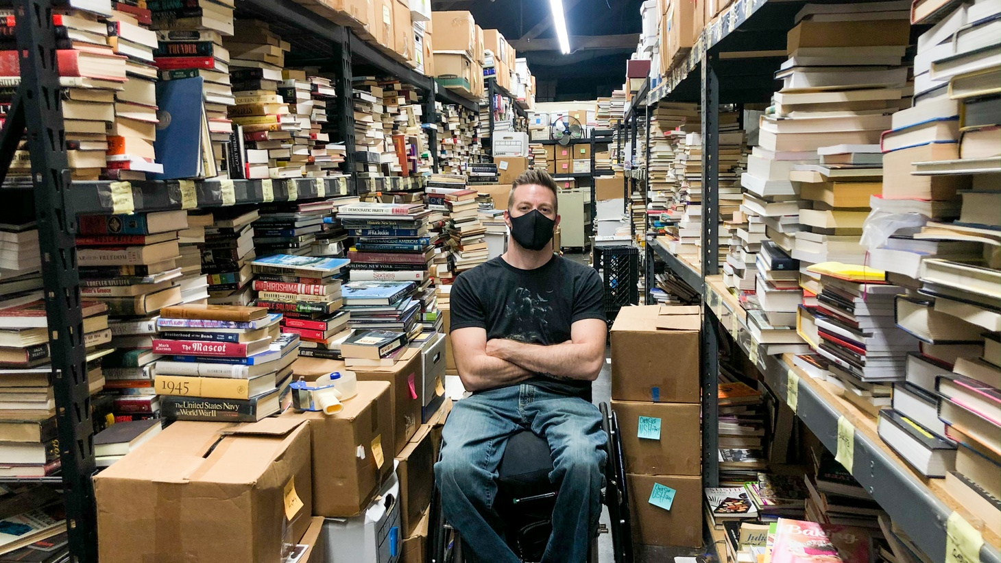"""I just sort boxes of books. It's like Christmas every day. I never know what I'm going to get. Everyday I learn something new and find books I'd never seen before. So it's really the best kind of job for someone with my personality,"" says Josh Spencer, co-owner of The Last Bookstore."