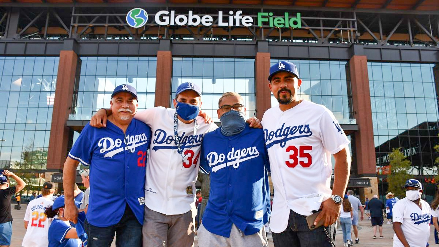 Alex Soto with fellow Dodgers fans at the Globe Life Field in Texas.
