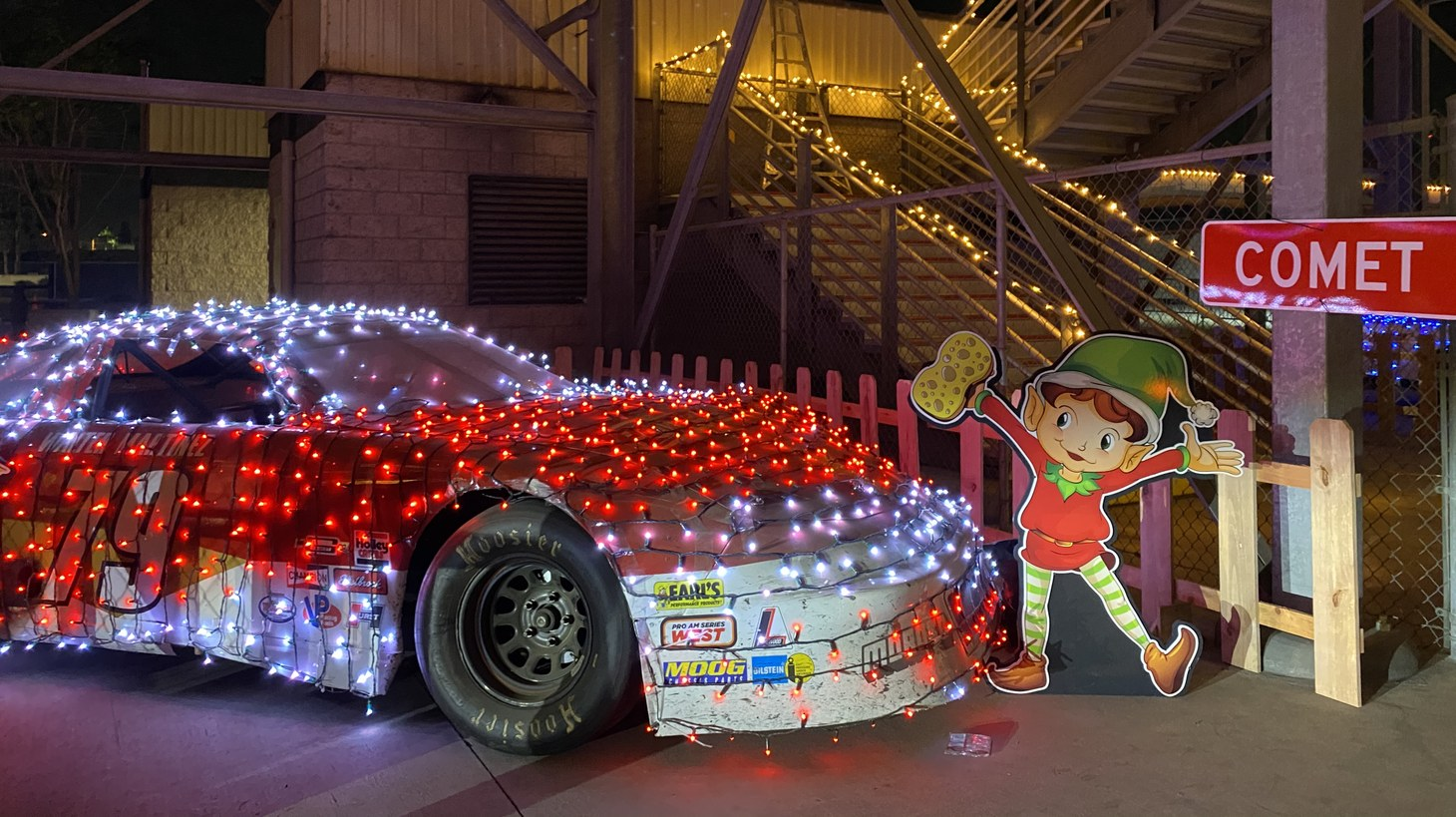 The Irwindale Speedway has gone all-in on holiday lights while staying true to its motorsports roots.