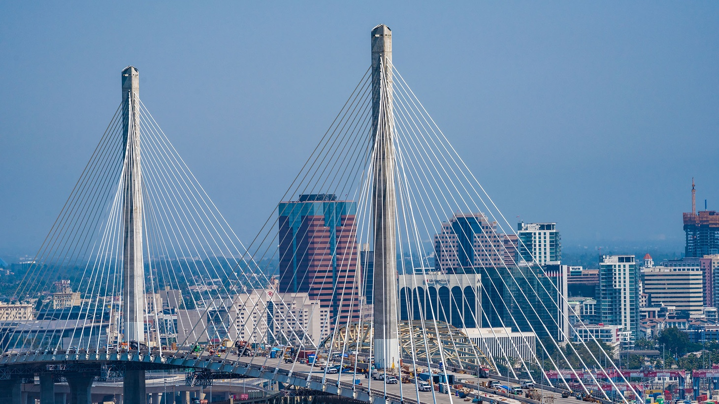 This cable-stayed bridge is held up by 80 white cables attached to two towers, which do the heavy lifting.