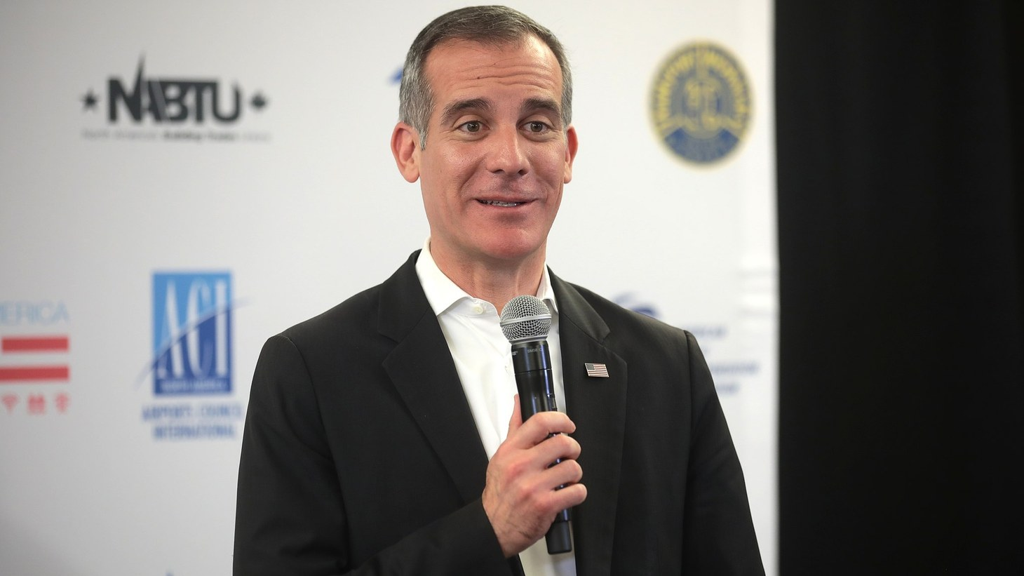 Mayor of Los Angeles Eric Garcetti speaking with the media at the Moving America Forward Forum hosted by United for Infrastructure at the Student Union at the University of Nevada, Las Vegas in Las Vegas, Nevada.