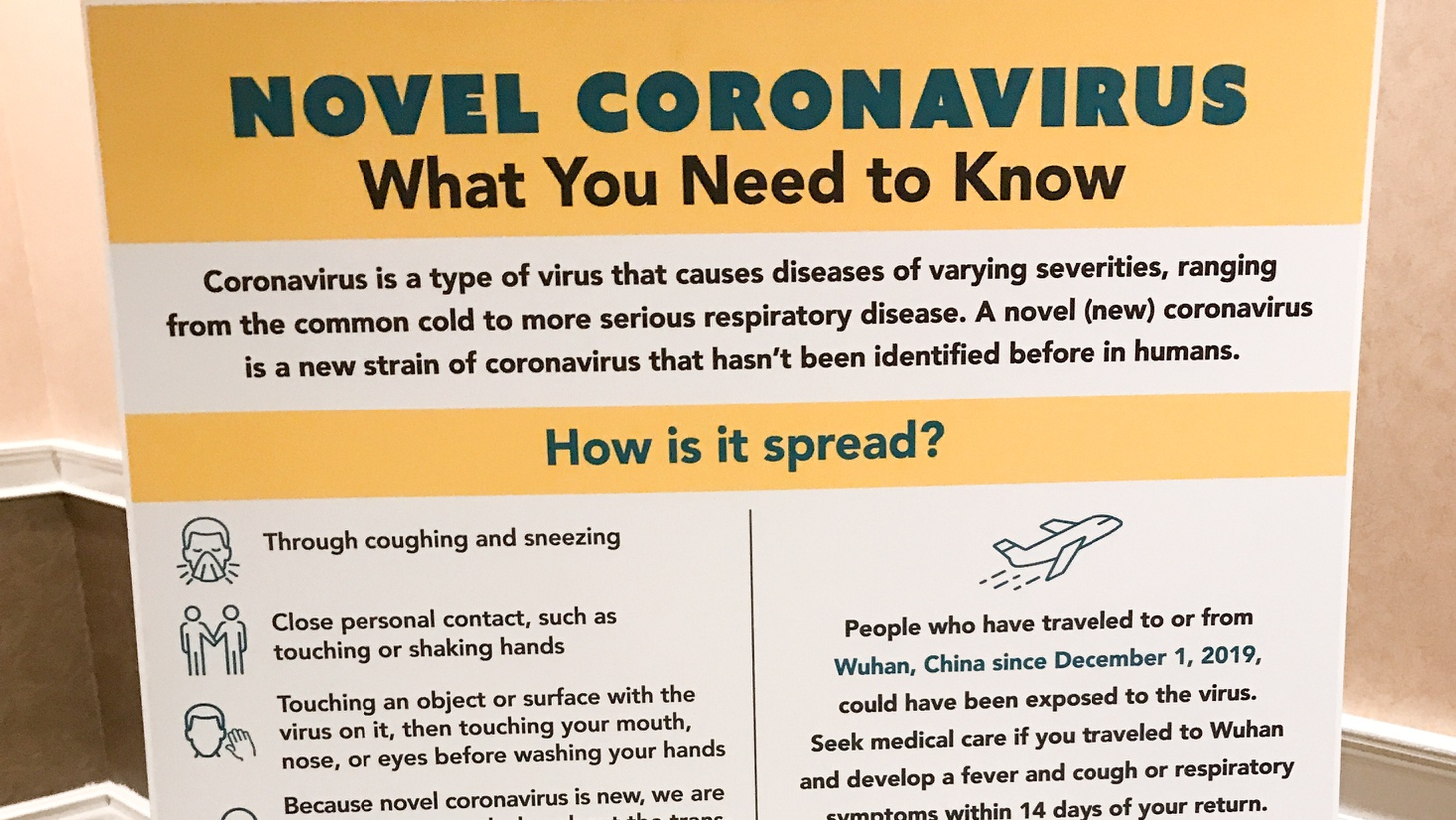 A sign about coronavirus facts at a recent gathering of Chinese media and others at the Hilton San Gabriel Hotel, hosted by Democrat Ed Chau.
