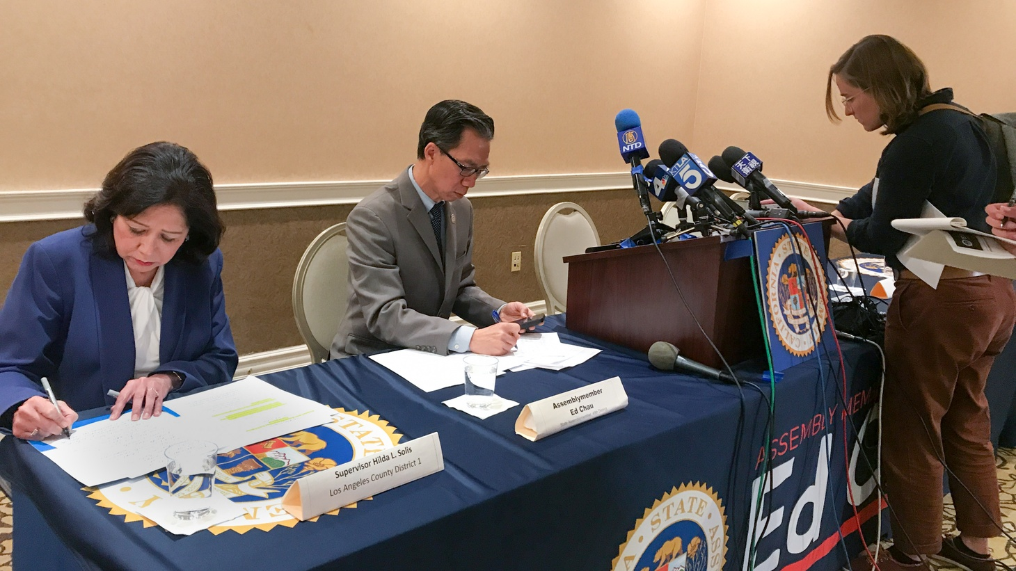 Democrat Ed Chau hosted a recent meeting on the coronavirus at the Hilton San Gabriel Hotel. Chinese media and others were present.