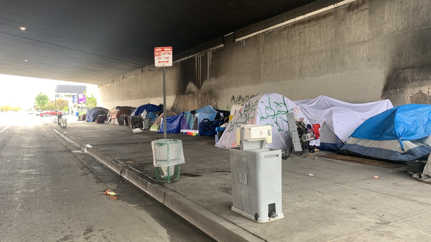 At the beginning of the pandemic, the city deployed hand-washing stations to several large homeless encampments. But maintenance has been spotty.