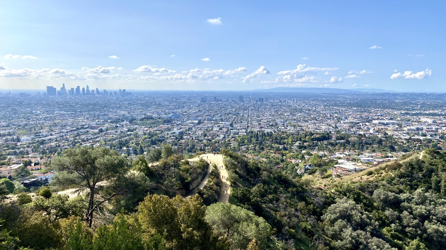 A view of hiking trails, Griffith Park, and downtown LA in the distance, March 21, 2020. During the early days of the pandemic, when LA was under a stay-at-home order, fewer cars on the road meant less air pollution and clearer skies.