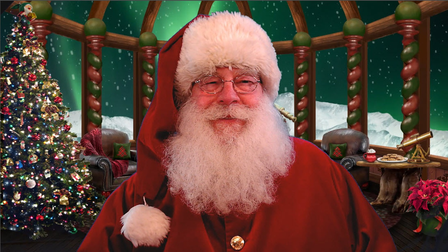 During his online visits, Santa Ed Taylor appears from the North Pole with the shimmering Aurora Borealis appearing through the windows of his digital background designed by his wife. Going virtual this year has allowed him to more than quadruple the number of visits he usually has — from 100 to some 400.