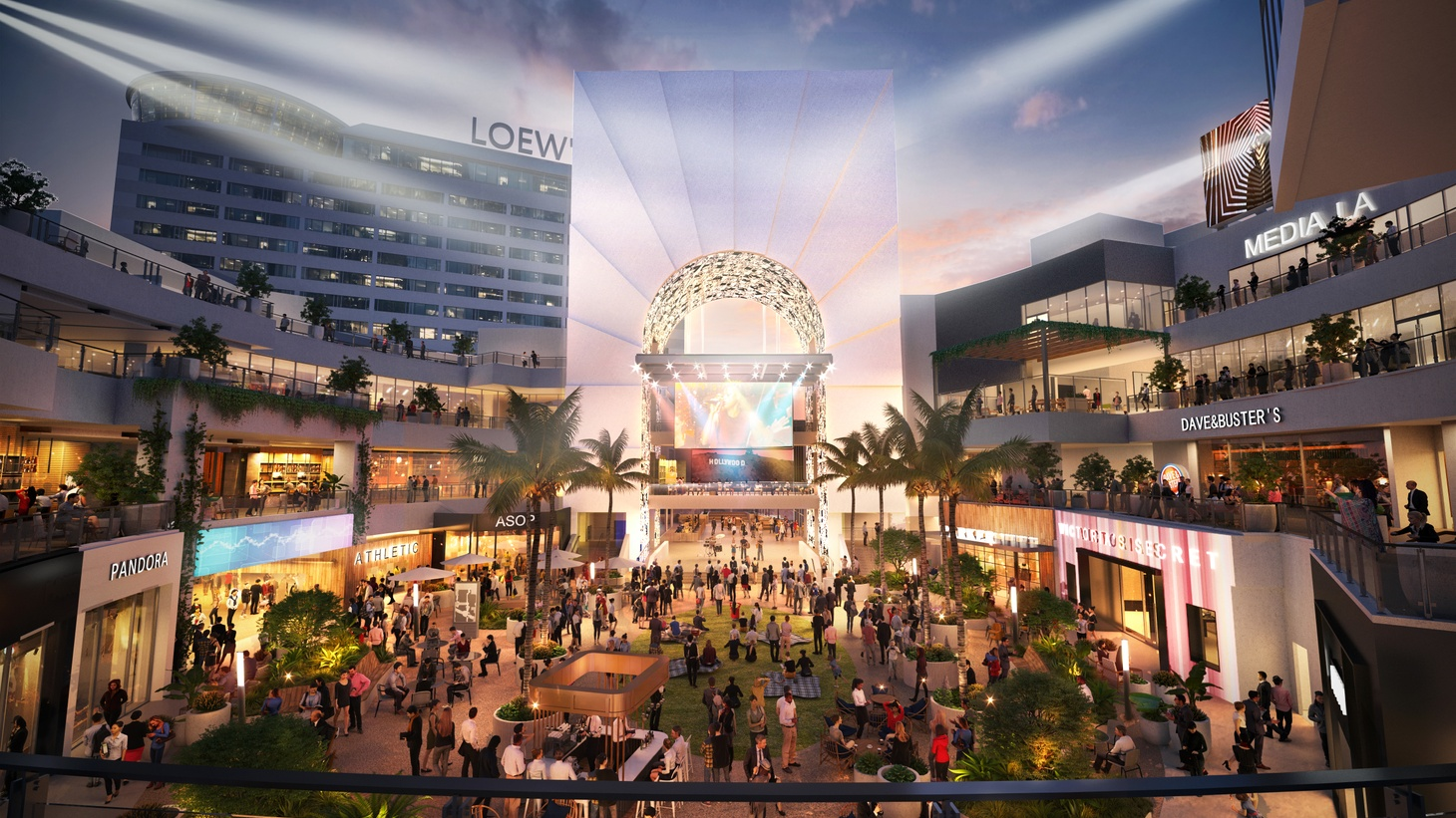 A rendering of the Ovation courtyard on Hollywood and Highland, featuring green space, Dave and Buster's, Victoria's Secret, and Pandora.