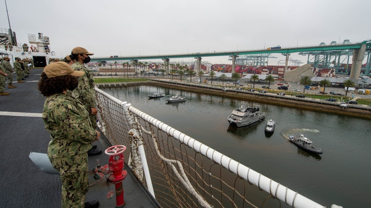 The Navy hospital ship USNS Mercy arrived in LA in March to help prevent a situation similar to New York City's, where hospitals were overwhelmed and tent medical facilities sprang up…