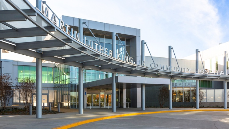 """""""We have doubled up rooms. We have converted our post-surgical care unit to intensive care,"""" says Dr. Elaine Batchlor, the CEO at Martin Luther King Jr. Community Hospital in South LA."""