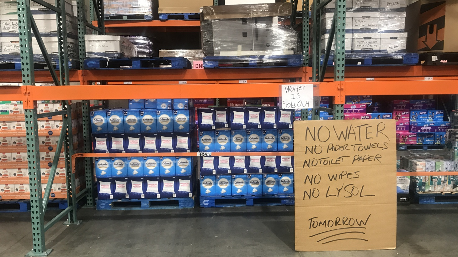 A Costco store in Van Nuys/Sherman Oaks sold out of bottled water, paper towels, toilet paper and disinfecting wipes, among other products.