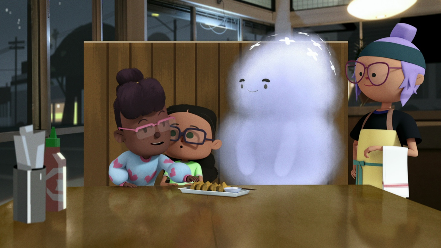 "In the first episode of ""City of Ghosts,"" Zelda (voiced by August Nunez) and Eva (voiced by Kirikoiu Muldrew) head to a new restaurant in Boyle Heights to find a ghost."