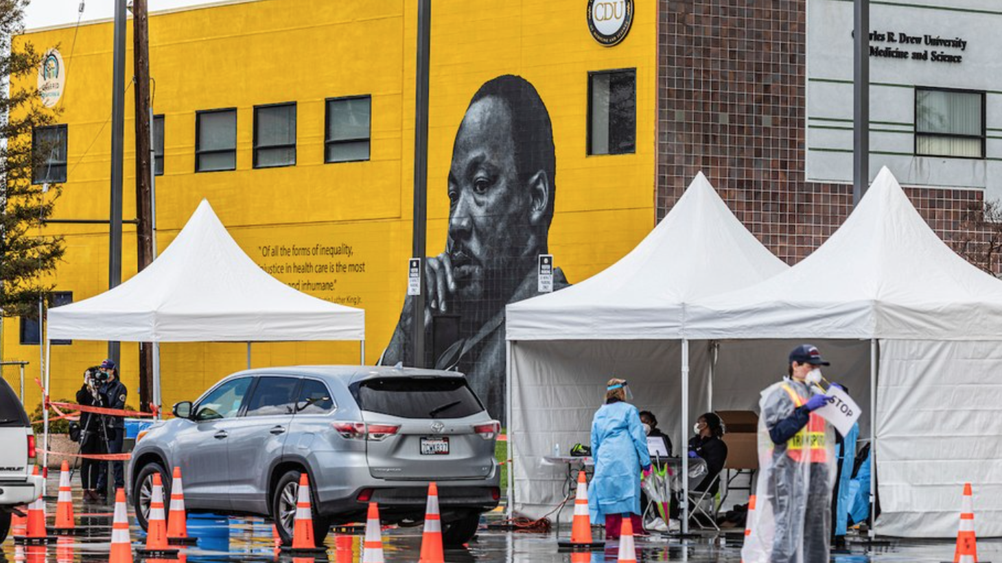 This COVID-19 testing site at Charles R. Drew University of Medicine and Science was opened specifically to help support LA's Black community.
