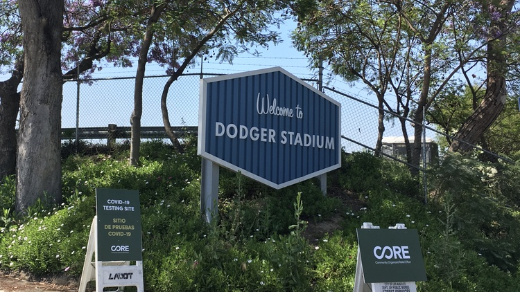 Dodger Stadium is home to one of the largest COVID-19 testing sites in the United States, with the capacity to test 6,000 Angelenos every day.